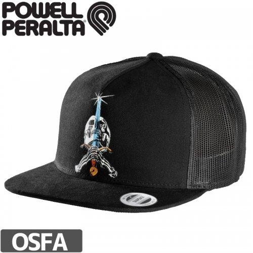 【パウエル POWELL スケボー キャップ】SKULL AND SWORD TRUCKER MESH HAT【ブラック】NO10