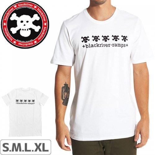【ブラックリバー BLACKRIVER 指スケ Tシャツ】+BLACKRIVER-RAMPS+ 5 SKULLS TEE【ホワイト】NO1