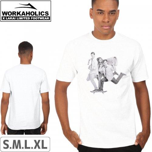 【LAKAI LIMITED FOOTWEAR ラカイ スケボー Tシャツ】LAKAI x WORKAHOLICS BEER RUN TEE【ホワイト】NO35
