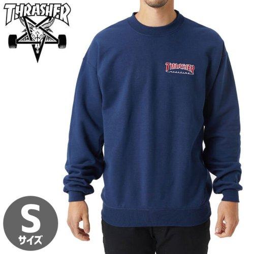【スラッシャー スウェット THRASHER】(USAモデル)Embroidered Outlined Crewneck Sweatshirt 【ネイビー】NO24