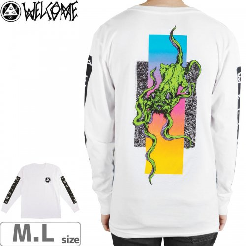 【WELCOME ウェルカム スケートボード ロングTシャツ】BACTOCAT LS TEE【ホワイト】NO4