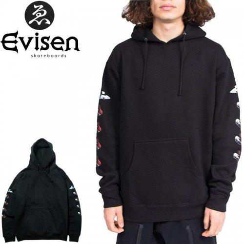 【EVISEN エビセン スケボー パーカー】SUSHI ABDUCTION HOODIE【ブラック】NO3
