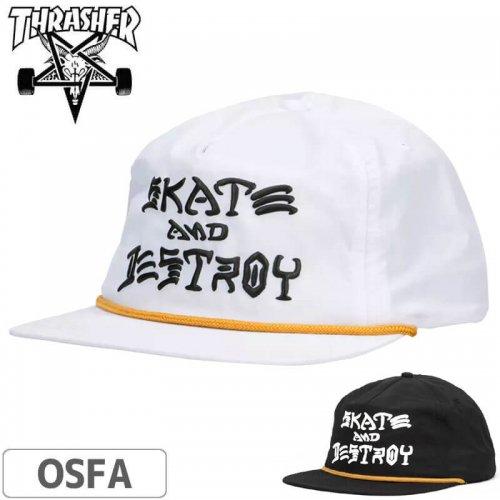 【スラッシャー Thrasher キャップ】(USAモデル)Skate and Destroy Puff Ink Snapback Cap【ホワイト】【ブラック】NO48
