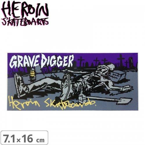 【ヘロイン スケボー ステッカー】GRAVE DIGGER【7.1cm×16cm】NO42