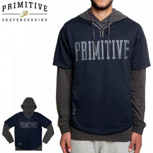 【PRIMITIVE プリミティブ スケボー パーカー】The Two-Fer Baseball Pullover Hoodie in Midnight【ネイビー×グレー】NO1