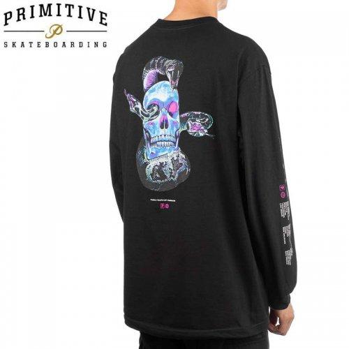 【PRIMITIVE プリミティブ スケボー ロング Tシャツ】WORLD TOUR L/S TEE【ブラック】NO8