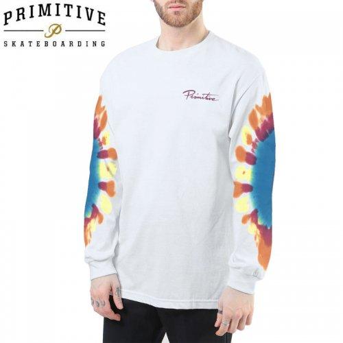 【PRIMITIVE プリミティブ スケボー ロング Tシャツ】MINI NUEVO TIE DYE LS TEE【ホワイト】NO13