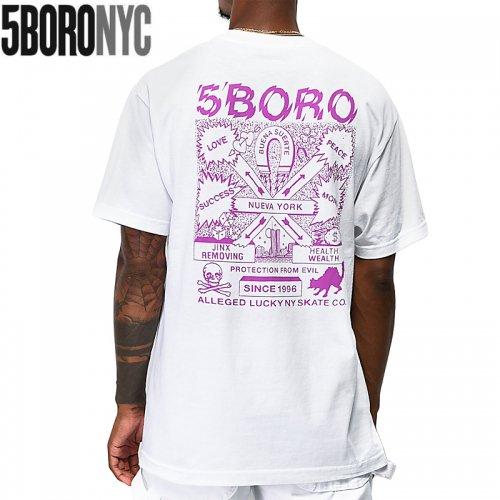 【ファイブボロ 5BORO スケボー Tシャツ】LUCKY NY【ホワイト】NO5