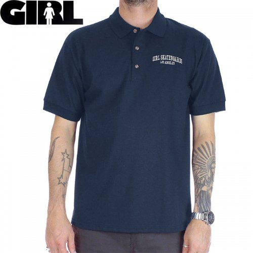【GIRLSKATEBOARD ガールスケートボード ポロ シャツ】ARCHED LA S/S POLO【ネイビー】NO4