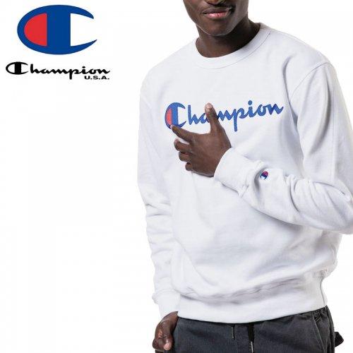 【CHAMPION チャンピオン スウェット】POWERBLEND FLEECE CREW SCRIPT LOGO GF88H USAモデル トレーナー【ホワイト】NO2