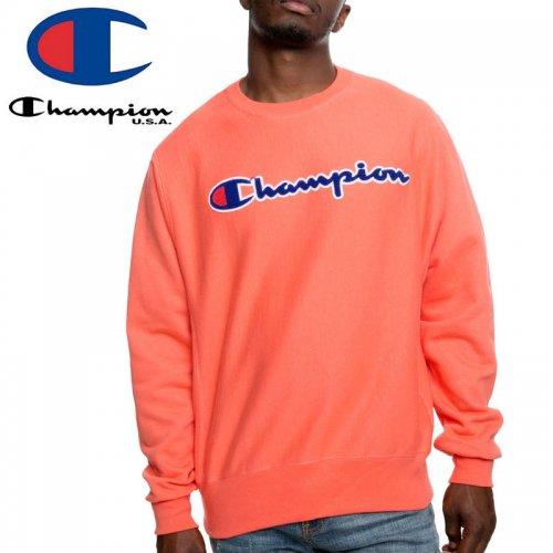【CHAMPION チャンピオン スウェット】REVERSE WEAVE CHENILLE LOGO CREW GF70 Y07731 USAモデル リバースウィーブ【パパイヤオレンジ】NO15