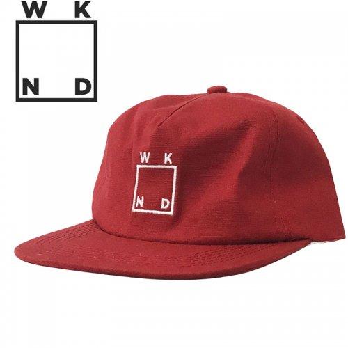 【ウィークエンド WKND スケボー キャップ CAP】SQUARE LOGO HAT【レッド】NO5
