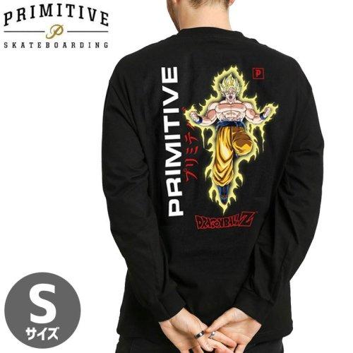 【PRIMITIVE プリミティブ スケボー ロング Tシャツ】GOKU POWER UP LS TEE ドラゴンボールコラボ【ブラック】NO17