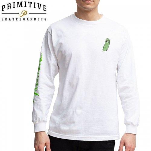 【PRIMITIVE プリミティブ スケボー ロング Tシャツ】PICKLE RICK LS TEE リック・アンド・モーティコラボ【ホワイト】NO19