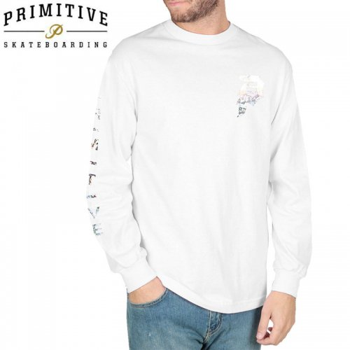 【PRIMITIVE プリミティブ スケボー ロング Tシャツ】DIRTY P HOLOGRAM LS TEE【ホワイト】NO22