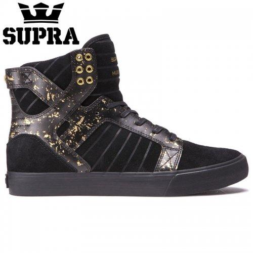 【SUPRA スープラ スケート シューズ】SKYTOP BLACK/GOLD/BLACK スウェード【ブラック ゴールド】NO4