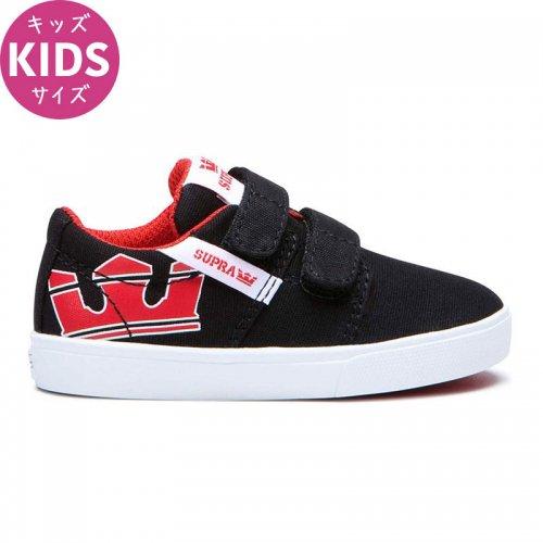 【スープラ SUPRA キッズ シューズ】KIDS STACKS II VULC BLACK/RISK RED-WHITE【ブラック】NO3