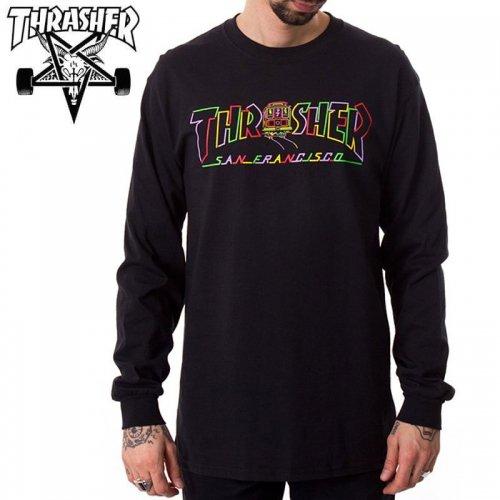 【スラッシャー THRASHER ロングTシャツ】CABLE CAR LONGSLEEVE【ブラック】NO08