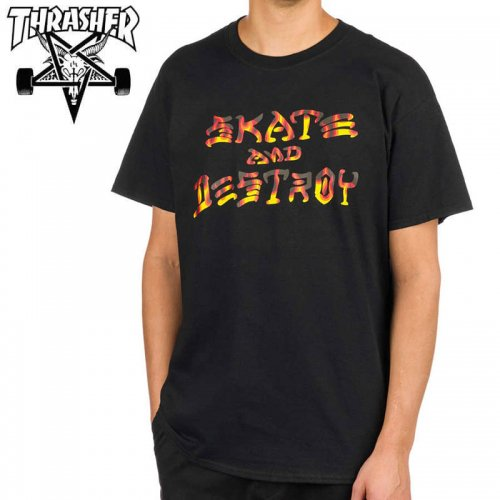 【スラッシャー THRASHER Tシャツ】SKATE AND DESTROY BBQ T-SHIRT ブラック NO122