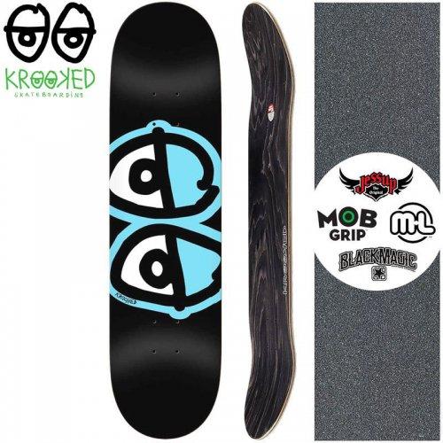 【クルックド KROOKED スケートボード デッキ】TEAM EYES BLACK DECK【8.06インチ】NO114