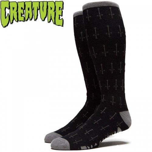 【スケボー ソックス CREATURE クリーチャー】HOLY CROSSES CREW SOCKS ブラック NO20