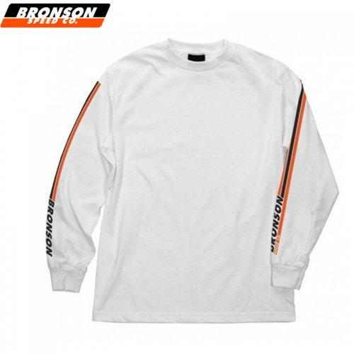 【BRONSON SPEED CO ブロンソン スケボー ロンT】SPEED SLEEVES L/S TEE ホワイト NO3