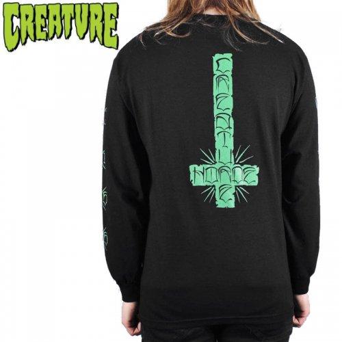 【CREATURE クリーチャー スケボー ロングTシャツ】HORDE CROSS L/S TEE ブラック NO12