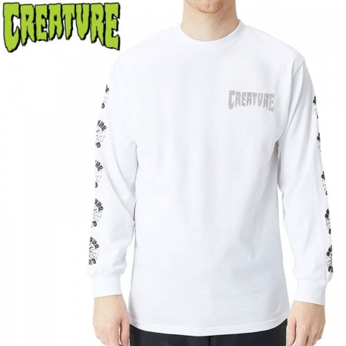 【CREATURE クリーチャー スケボー ロングTシャツ】FIEND WEB L/S ホワイト NO13