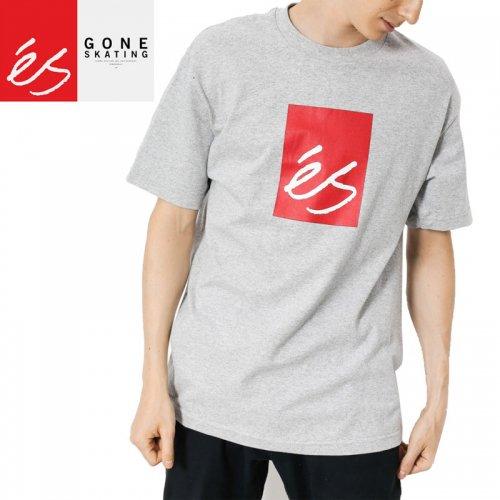 【エススケートボード ES FOOTWEAR スケボー Tシャツ】MAIN BLOCK TEE【グレーヘザー】NO33