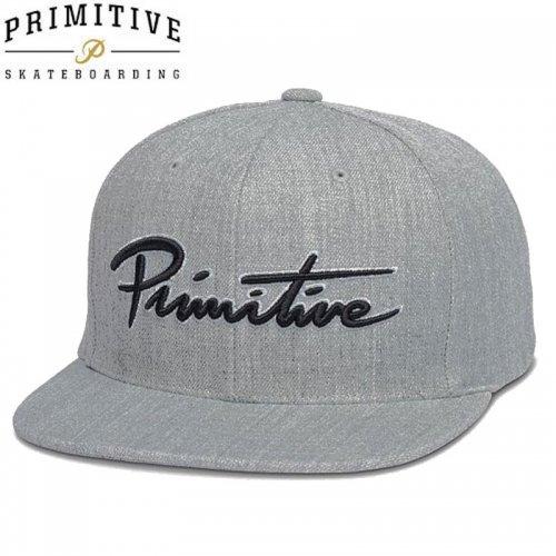 【PRIMITIVE プリミティブ スケボー キャップ】NUEVO SCRIPT SNAPBACK HAT 【グレー】NO10