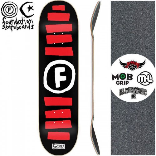 【ファンデーション FOUNDATION スケボー デッキ】DOODLE STRIPE BLACK【8.0インチ】NO69