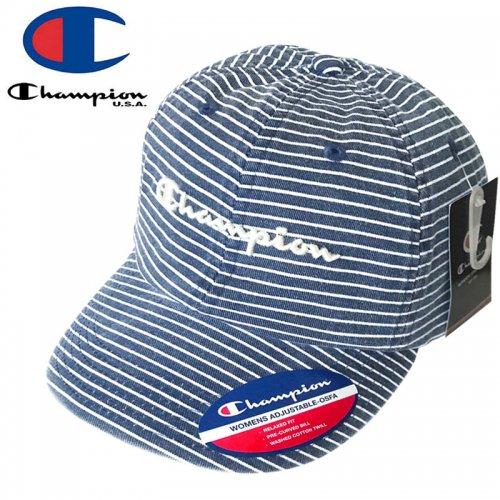【CHAMPION チャンピオン レディース ベースボールキャップ】STRIPED STRAPBACK CAP ネイビー×ホワイト NO3