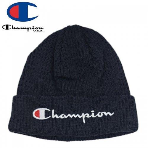【CHAMPION チャンピオン ニットキャップ】SCRIPT BEANIE HAT ネイビー NO13