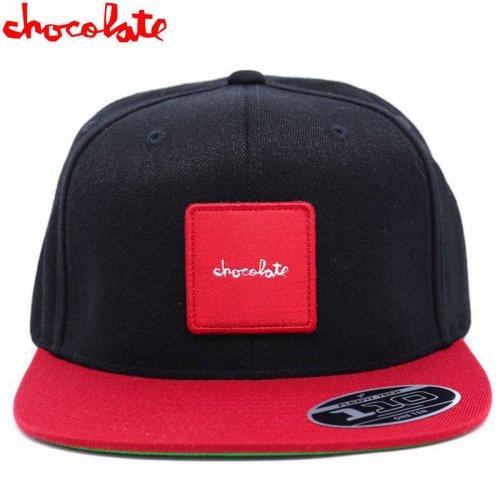 【チョコレート CHOCOLATE スケボー キャップ】RED SQUARE PATCH HAT ブラック NO81