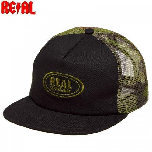【REAL リアル スケボー キャップ】OVAL SNAPBACK HAT カモ×ブラック NO24