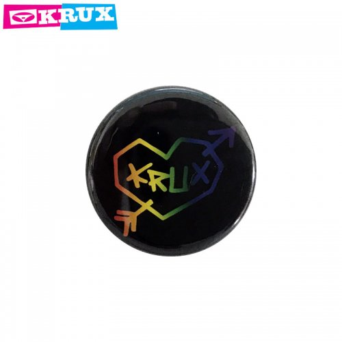 【KRUX クラックス スケボー バッヂ】1-1/4 BUTTON 缶バッチ KRUX 3cm ブラック NO1