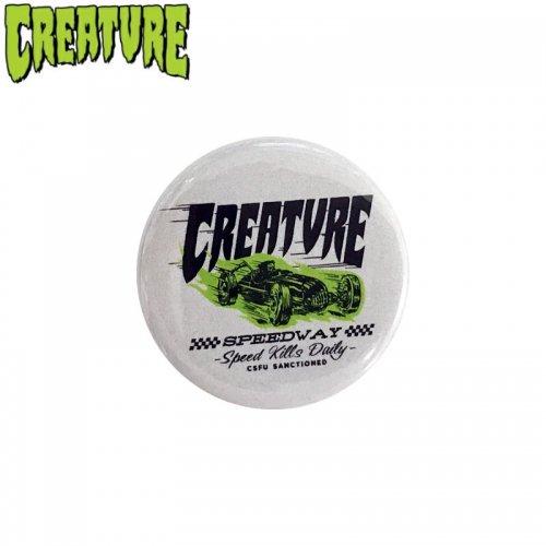 【CREATURE クリーチャー スケボー バッヂ】1-1/4 BUTTON 缶バッチ LOGO 3cm ホワイト NO2