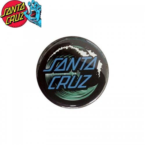 【サンタクルーズ SANTA CRUZ スケボー バッヂ】1-1/4 BUTTON 缶バッチ WAVE DOT 3cm ブラック/ブルー NO8