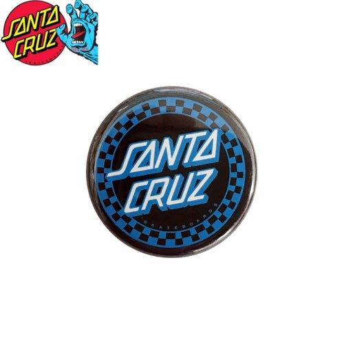 【サンタクルーズ SANTA CRUZ スケボー バッヂ】1-1/4 BUTTON 缶バッチ DOT CHECKER 3cm ブラック/ブルー NO11
