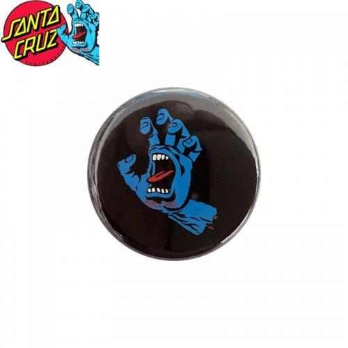 【サンタクルーズ SANTA CRUZ スケボー バッヂ】1-1/4 BUTTON 缶バッチ SCREAMING HAND 3cm ブラック/ブルー NO15