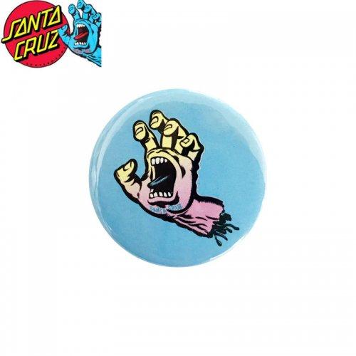 【サンタクルーズ SANTA CRUZ スケボー バッヂ】1-1/4 BUTTON 缶バッチ PASTEL SCREAMING HAND 3cm ブルー/マルチ NO16