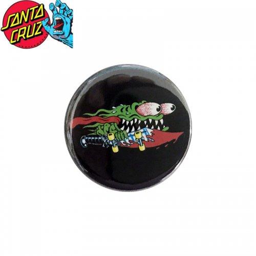 【サンタクルーズ SANTA CRUZ スケボー バッヂ】1-1/4 BUTTON 缶バッチ SLASHER 3cm ブラック/グリーン NO19