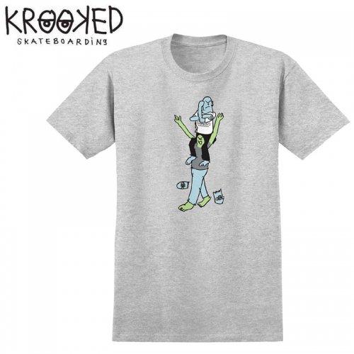 【KROOKED クルックド スケートボード Tシャツ】F-THIS S/S TEE【アッシュグレー】NO82