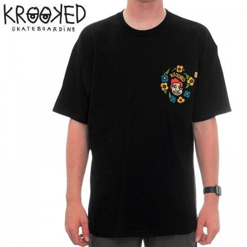【KROOKED クルックド スケートボード Tシャツ】SWEATPANTS POCKET S/S TEE【ブラック】NO83