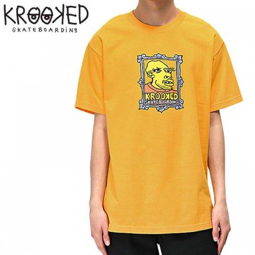 【KROOKED クルックド スケートボード Tシャツ】FRAME FACE S/S TEE【マスタード】NO87