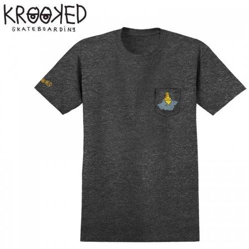 半額セール【KROOKED クルックド スケートボード Tシャツ】RIP UNKNOWN POCKET S/S TEE【チャコールヘザー】NO90