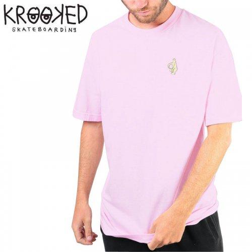 半額セール【KROOKED クルックド スケートボード Tシャツ】SHMOO S/S TEE【ピンク】NO94