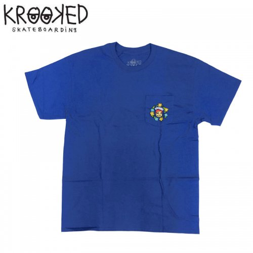 半額セール【KROOKED クルックド スケートボード Tシャツ】SWEATPANTS POCKET S/S TEE【ブルー】NO99