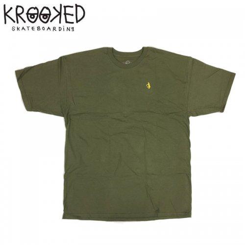 半額セール【KROOKED クルックド スケートボード Tシャツ】SHMOLO EMBROIDERED S/S TEE【グリーン】NO101