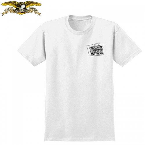半額セール【アンタイヒーロー ANTIHERO スケボーTシャツ】BACK ISSUES PREMIUM TEE【ホワイト】NO98